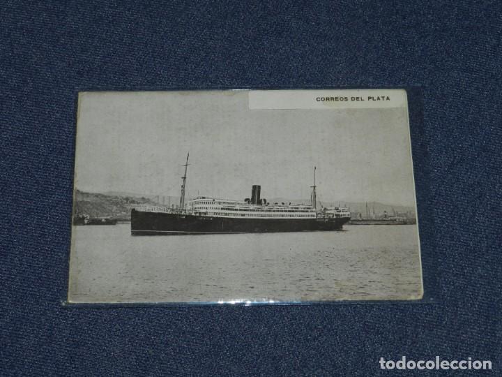 FOLLETO CORREOS DEL PLATA, COMPAÑIA TRASATLANTICA, VAPORES CORREOS ESPAÑOLES, 2 HOJAS (Postales - Postales Temáticas - Barcos)