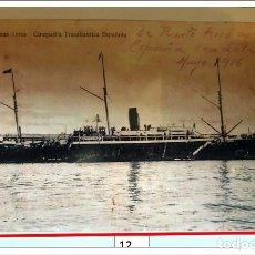 """Postales: BARCO ESPAÑOL AÑO 1916.""""BUENAS AYRES"""" COMPAÑÍA TRANSATLÁNTICA ESPAÑOLA. Lote 240669125"""