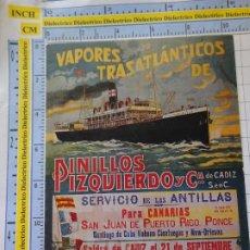Postales: POSTAL DE BARCOS NAVIERAS. REPRODUCCIÓN FACSÍMIL. VAPORES TRASATLÉNTICOS PINILLOS IZQUIERDO. 3359. Lote 243583730