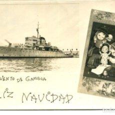 Postales: MARINA ESPAÑOLA-CAÑONERO SARMIENTO DE GAMBOA-FELICITACION DE NAVIDAD -AÑOS 1953-FOTOGRÁFICA-RARA. Lote 246941860