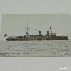 Postales: POSTAL BARCO - CRUCERO CATALUÑA, MARITIMA PATRIOTICA, CIRCULADA 1915, SEÑALES DE USO. Lote 252279600
