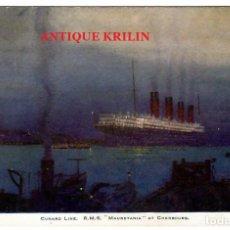 Postales: CUNARD LINE , R.M.S. MAURETANIA AT CHERBOURG. Lote 257658270