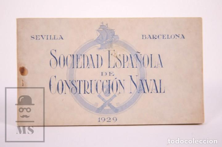 TACO DE 8 POSTALES - SOCIEDAD ESPAÑOLA DE CONSTRUCIÓN NAVAL - SEVILLA BARCELONA - AÑO 1929 (Postales - Postales Temáticas - Barcos)