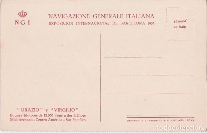 Postales: BUQUES ORAZIO Y VIRGILIO – NGI (NAVIGAZIONES GENERALE ITALIANA) – BESTETTI & TUMMINELLI – S/C - Foto 2 - 262914125