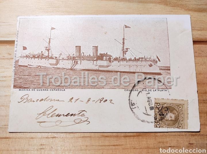 BARCO DE GUERRA MARINA DE GUERRA ESPAÑOLA CRUCERO RÍO DE LA PLATA 1902 (Postales - Postales Temáticas - Barcos)