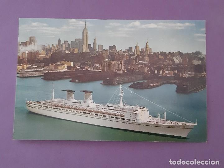 TARGETA POSTAL TRANSATLANTICO MICHELANJELO- FAFFAELLO ITALIAN LINE LINEA MEDITERRANEO NEW YORK (Postales - Postales Temáticas - Barcos)