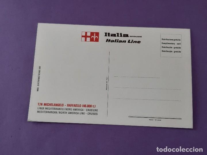 Postales: TARGETA POSTAL TRANSATLANTICO MICHELANJELO- FAFFAELLO ITALIAN LINE LINEA MEDITERRANEO NEW YORK - Foto 2 - 263046135