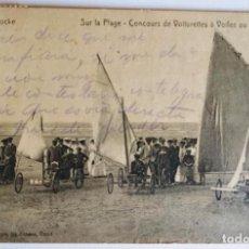 Postales: ANTIGUA POSTAL DE CARRERAS DE AEROPLAYAS (LAND YACHTING) EN KNOKKE (BÉLGICA). CIRCULADA EN 1920.. Lote 266278263