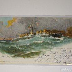 Postales: BARCOS CORAZZATA DI Iª CLASSE ITALIA-RICHTER & CO. NAPOLI ,CIRCULADA 1906-14X9 CM.. Lote 267610169