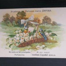 Postales: POSTAL PUBLICITARIA PERFUMES ÁNFORA. INSTITUTO ESPAÑOL. SEVILLA. Lote 268855634