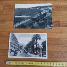 Postales: 2 POSTALES DE NICE, NIZA 1900S 1930S. PROMENADE DES ANGLAIS. LLEGADA BARCO. Lote 277154493
