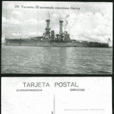 Postales: 1142 - ESPAÑA VALENCIA ACORAZADO AMERICANO USS DACOTA BARCO DE GUERRA - POSTAL 1940'. Lote 277161773