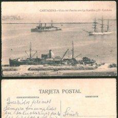 Postales: 1144 - ESPAÑA MURCIA CARTAGENA VISTA DEL PUERTO CON LA NAUTILUS Y EL CATALUÑA BARCOS - POSTAL. Lote 277162278