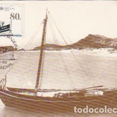 Postales: PORTUGAL & MAXI, MADEIRA, BARCO CARREIREIRO, MARIA CRISTINA, PORTO SANTO, FUNCHAL 1988 (56). Lote 278582723