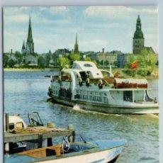Postales: PASSENGER MOTOR SHIP IN RIGA LATVIA MOTORBOAT BOAT RIVER SOVIET USSR POSTCARD. Lote 278706888
