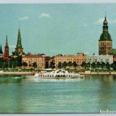 Postales: 1963 PASSENGER MOTOR SHIP IN RIGA LATVIA PANORAMA PHOTO SOVIET USSR POSTCARD. Lote 278706908