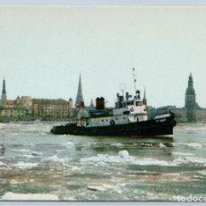 Postales: 1963 MOTORBOAT DRIFTING OF ICE ON DAUGAVA RIGA LATVIA PHOTO SOVIET USSR POSTCARD. Lote 278706923