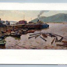 Postales: 1958 RAFTING WOOD ON RIVER BARGE BOATS SOVIET REALISM ART VINTAGE POSTCARD - KARTASHEV O.N.. Lote 278735728