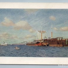 Postales: 1957 SAILING SHIPS IN SEA STEAMBOAT FRESH BREEZE BY LEVITAN SOVIET USSR POSTCARD - LEVITAN I.. Lote 278737128