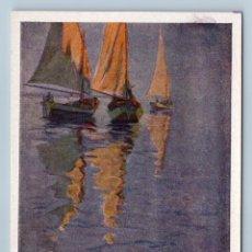 Postales: 1958 SAILING BOATS AWAIT WIND ON THE WATER BY CHERKES ART VINTAGE POSTCARD - CHERKES D.YA.. Lote 278735918