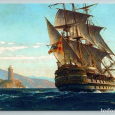 Postales: THREE -MASTER SHIP BY COAST LIGHTHOUSE BOAT IN SEA BY DIEMER RUSSIAN NEW POSTCARD - MICHAEL ZENO DIE. Lote 278746818