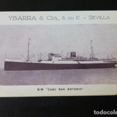 Postales: YBARRA Y COMPAÑIA LINEA MEDITERRANEO BRASIL PLATA CABO SAN ANTONIO POSTAL. Lote 285544538