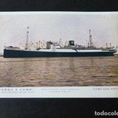 Postales: YBARRA Y COMPAÑIA LINEA MEDITERRANEO BRASIL PLATA CABO SAN ANTONIO POSTAL AL DORSO MENU. Lote 285544633