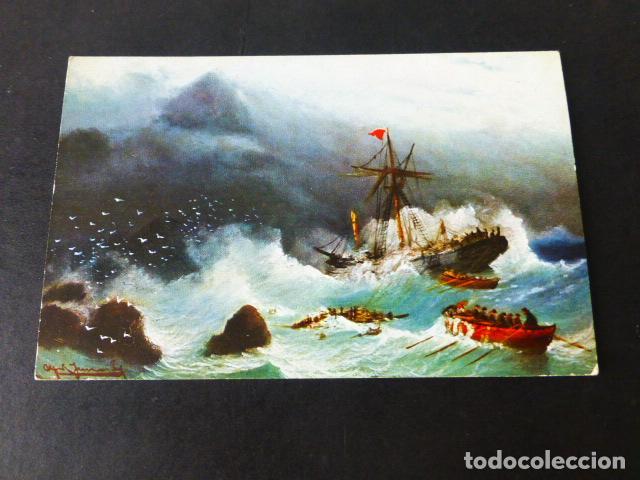 BARCO NAUFRAGANDO POSTAL CROMOLITOGRAFICA (Postales - Postales Temáticas - Barcos)