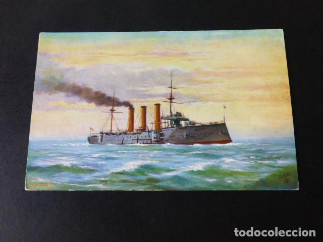 BARCO DE GUERRA INGLES H.M.S. ESSEX POSTAL CROMOLITOGRAFICA (Postales - Postales Temáticas - Barcos)