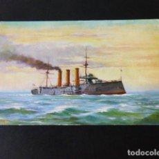 Postales: BARCO DE GUERRA INGLES H.M.S. ESSEX POSTAL CROMOLITOGRAFICA. Lote 285967938