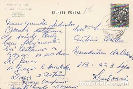 Postales: Portugal & Circulado, Vila Real Santo Antônio, Barcos en el Muelle, Monte Gordo a Lisboa 1970 (71) - Foto 2 - 288133228