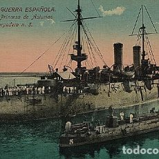 Postales: X126186 ESPANA MARINA DE GUERRA ESPANOLA CRUCERO PRINCESA DE ASTURIAS Y TORPEDERO N° 5. Lote 288515238