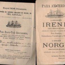 Postales: 2 ANUNCIOS DE BARCOS DE DOS LINEAS TRASATLÁNTICAS:ROYAL MAIL STEAMERS Y. Lote 288713018