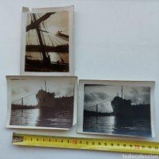 Postales: 3 FOTOGRAFÍAS DE BARCOS EN EL PUERTO DE CASTELLÓN LA PLANA O BARCELONA. 1920S. Lote 289469838