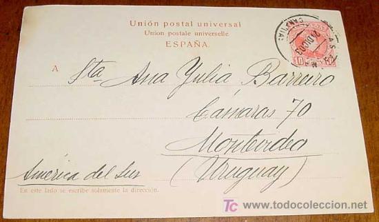Postales: ANTIGUA POSTAL DE GRAN CANARIA - ATALAYA - CIRCULADA DESDE LAS PALMAS A MONTEVIDEO EN 1903 - SIN DIV - Foto 2 - 26648532