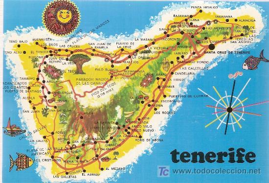 tenerife mapa tenerife. mapa   Comprar Postales de Canarias en todocoleccion  tenerife mapa