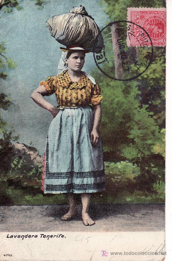 LAVANDERA, TENERIFE. POSTAL CIRCULADA 1910. VER FOTO ADICIONAL. (Postales - España - Canarias Antigua (hasta 1939))