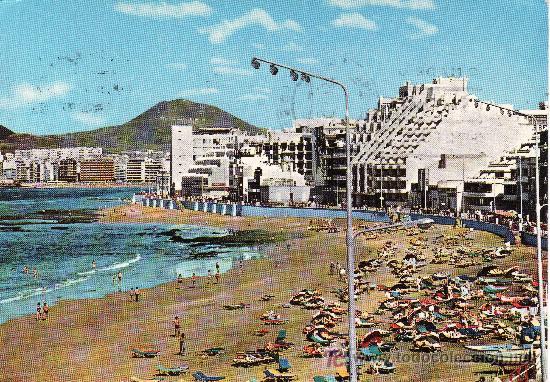 LAS PALMAS DE GRAN CANARIA. VISTA PLAYA LAS CANTERAS.CIRCULADA. (Postales - España - Canarias Moderna (desde 1940))