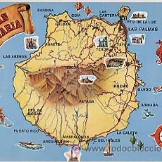 Postales: POSTAL: MAPA GRAN CANARIA. ED. GLOBAL TRADERS. SIN CIRCULAR. Lote 7427999