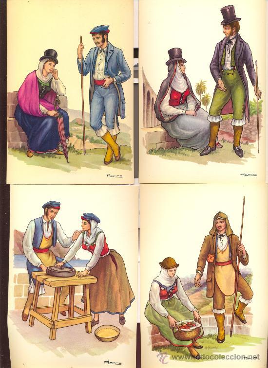 LA PALMA. 13 POSTALES COLOR, CON DIBUJOS DE TRAJES TIPICOS, SIN CIRCULAR. 1965 (Postales - España - Canarias Moderna (desde 1940))