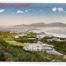 Postales: LAS PALMAS. PUERTO DE LA LUZ Y BARRIO DE LOS HOTELES. POSTAL EN BYN COLOREADA. SIN CIRCULAR. Lote 2652764
