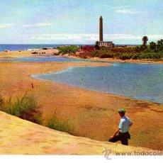 Postales: POSTAL DE LAS PALMAS DE GRAN CANARIA -ARENALES-PLAYA Y FARO DE MASPALOMA-CIRCULADA EN 1962. Lote 10184961