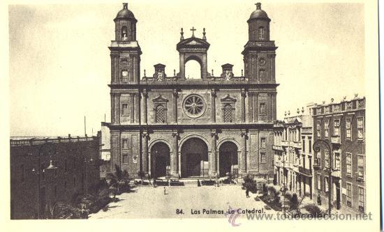 LAS PALMAS. LA CATEDRAL. POSTAL BLANCO Y NEGRO, C. 1955. GC (Postales - España - Canarias Moderna (desde 1940))
