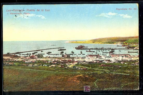 TARJETA POSTAL DE LAS PALMAS Nº 22. PUERTO DE LA LUZ. FOTO PERESTRELLO (Postales - España - Canarias Antigua (hasta 1939))