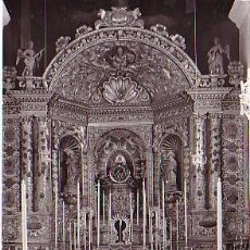 Postales: SANTA CRUZ DE LA PALMA (LA PALMA, CANARIAS).- ALTAR MAYOR Y VIRGEN DE LAS NIEVES. Lote 47294782