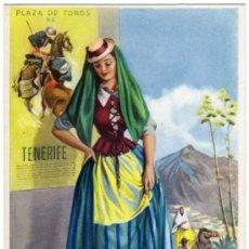 Postais: BONITA POSTAL - TENERIFE - MUJER CON TRAJE REGIONAL - CARTEL DE TOROS . Lote 24301322