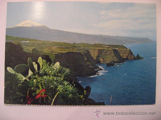 POSTAL SIN CIRCULAR DE TENERIFE,PAISAJE CON TEIDE Y MAR. (Postales - España - Canarias Moderna (desde 1940))