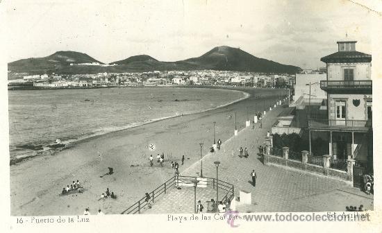 LAS PALMAS. PUERTO DE LA LUZ. PLAYA DE LAS CANTERAS.CIRCULADA A SUECIA EN 1952. (Postales - España - Canarias Antigua (hasta 1939))