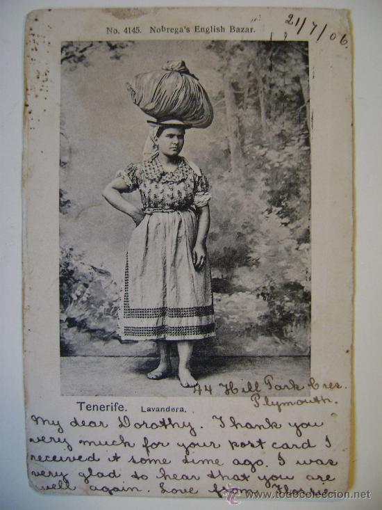 POSTAL ANTIGUA DE ESPAÑA CANARIAS TENERIFE LAVANDERA (Postales - España - Canarias Antigua (hasta 1939))