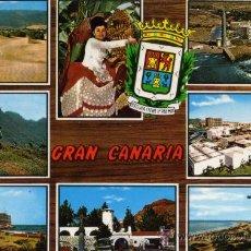 Postales: GRAN CANARIA Nº 1064 ISLAS CANARIAS VISTAS DE LA ISLA ESCRITA CIRCULADA SELLO DISTRI: GLOBAL TRADERS. Lote 27379876
